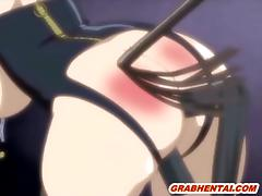 Busty hentai maid with muzzle gets whipped and dildoed ass and pussy