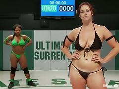 Black and White chicks use their strap-on after a catfight