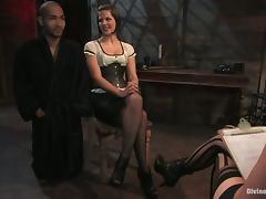 Dominant Bobbi Starr Spanking Guy in Bondage Femdom Session