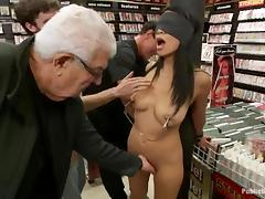 Cassandra Cruz gets stunningly fucked by a few men in a shop
