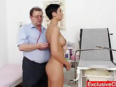 Deviated gyno doctor checks blond babe