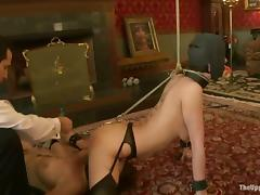 Chicks gets shindig gagged and blindfolded all over this BDSM