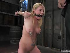 Blindfolded babe is being poked in the subjugation