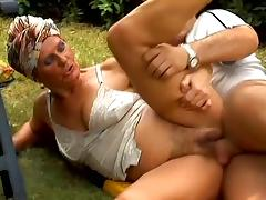 Slutty granny Paula gets fucked by her neighbour in the garden