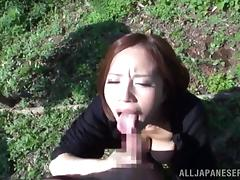 Big-breasted Japanese hottie enjoys sucking a cock in the garden