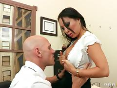Asa Akira lets Johnny Sins lick and fuck her Asian cunt in an office