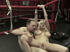 Blonde porn star with huge fake tits getting her shaved pussy licked