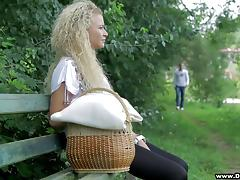 Curly-haired blond goes to a park for picnic and gets fucked