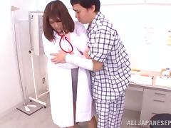 Lovely Asian nurse Meguri enjoys her patient exam