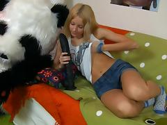 Dirty blonde sucks and rides a funny sex toy